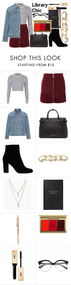 """""""Library Chic   contest"""" by nothing-better-than-a-riddle ❤ liked on Polyvore featuring Topshop, Levi's, Burberry, GUESS, LOFT, Smythson, MAC Cosmetics and Yves Saint Laurent"""
