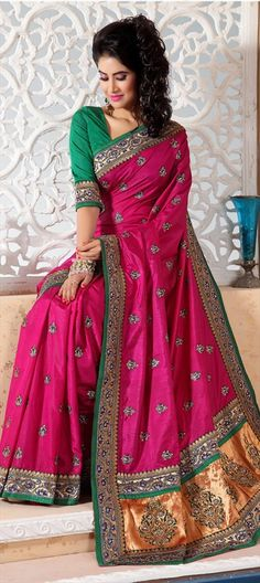 110509, Embroidered Sarees, Silk Sarees, Art Silk, Resham, Lace, Stone, Pink and Majenta Color Family