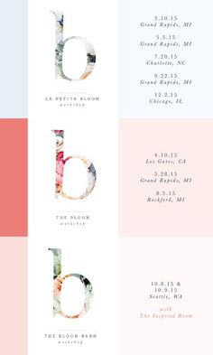 Bloom Workshop 2015 Dates. Bloom is for creative business owners who want to learn more about blogging, photography and design. #workshop #creative