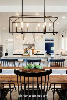 New Kitchen, Kitchen Decor, Kitchen Ideas, Dining Room In Kitchen, Cabinets In Dining Room, Natural Wood Dining Table, Kitchen Lighting Over Table, Kitchen Island Lighting, Design Kitchen