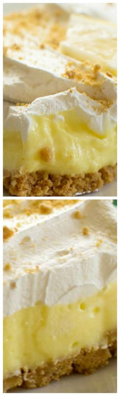 Lemon cream cheese pudding dessert is a no-bake dream! Graham crackers, lemon pudding, cream cheese and whipped topping in a layered lemon dessert! Lemon Dessert Recipes, Lemon Recipes, Sweet Desserts, Easy Desserts, Sweet Recipes, Delicious Desserts, Lemon Lush Dessert, Cheesecake Pudding, Pudding Desserts