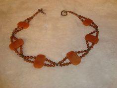 "Nice Amber Polished Stones & Faux Beads Necklace 16"" #Unbranded #StrandString"