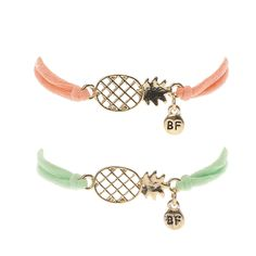 This pack of two best friend bracelets include a pale peach and mint green cord bracelet adorned with a gold-tone filigree pineapple pendant which a circle BF pack Gold-tone finish Adjustable Bracelets Bff, Best Friend Bracelets, Bff Necklaces, Friendship Necklaces, Best Friend Jewelry, Best Friend Gifts, Two Best Friends, Pineapple Jewelry, Pineapple Gifts