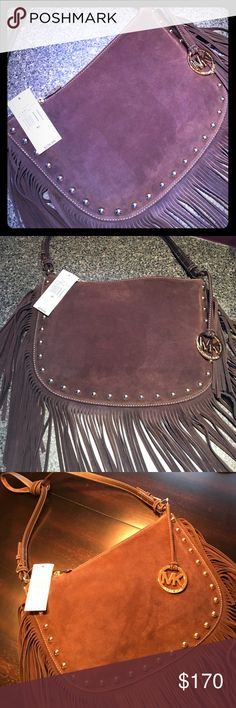 """NWT AUTH Michael Kors Dakota Saddle Bag AUTHENTIC!! NWT Michael Kors Medium Coffee Dakota Saddle Bag 38F6XM3M3S Gorgeous dark brown(coffee) suede w/ 8"""" Fringe  Gold hardware & hang tag Interior zip pocket & 4 additional pockets for organizing 13"""" Long x 9"""" High w/ 21"""" Drop WON'T LAST LONG, DO NOT REGRET PASSING IT BY!!!  I do not trade, please don't ask!! No offers!! Rude comments or comments abt price will not be tolerated!!!  Please feel free to ask questions...(2-1759) Michael Kors Bags"""