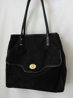 "TOMMY HILFIGER Purse Bag in Black with Logo Canvas 12"" Height #TommyHilfiger #ShoulderBag"