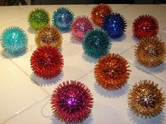ornaments made with styrofoam balls, bugle beads, sequins, and straight pins