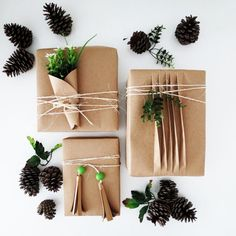 Easy gift wrap using brown paper