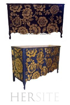 Awesome French Nouvelle Vague Style Dresser With Antique Pattern | How To Create Vintage Looking Furniture With Stencils! By DIY Ready. http://diyready.com/26-best-stencils-for-home-decor/