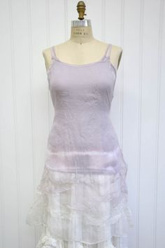Features:    Lovely slip   Knee length   Large wave tucksat bottom   Side ties   100%Silk Organza, Lilac Dip   Fits sizes 2-16