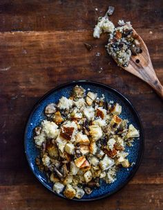 Pretzel Bread Quinoa Stuffing with Garlic Butter Mushrooms