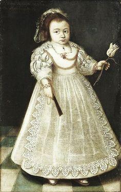1631 Unknown artist Sarra de Peyster in an interior. Inscription [at upper left] Sarra Depeyster AEtatis  30 Maenden 23 Mey 1631   The child here is holding a precious tuli