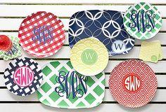 monogram preppy plates