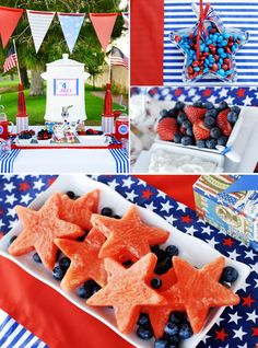 It looks like watermelon, blueberries, strawberries, bananas and M are very popular for the 4th of july. here are some ideas to help in decorating or making little food treats for your next event.