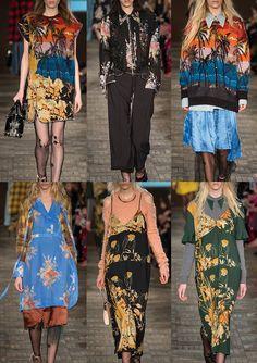 NO.21   Thrift Store Vibe – Tartan Mohair – Sunset Palm Scenes – Art Nouveau Florals – Leopard Prints – Pattern Clash – Lacey Details – Flower Embellished Mesh – Bouquet Florals   MILAN   http://vogue.co.uk
