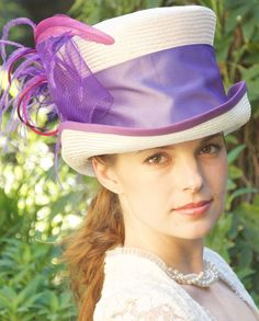 Kentucky Derby Hat Womens Cream Straw with Lavender by AwardDesign, $110.00