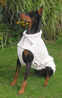 """Carlo is wearing my hand knitted thick 100% Cotton Sweater in size: L it comes in natural color and the chest part is buttoned up with 3 Wood buttons on each side for comfortable """"in and out"""". This way you don't have to bend your Dogs front legs to put it on which is very practical when it comes to large Breeds with long legs. Note: all our cotton sweaters are pre-washed to prevent shrinkage. Easy Care: machine wash in delicate cycle and tumble dry low."""