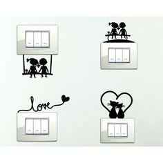 StickerDesign Adesivi per interruttore 4 PEZZI spine placche Adesivo BAMBINI SULLA PANCHINA ALTALENA LOVE GATTINI E CUORICINO Wall Stickers decorativo Decorazione Cameretta interni Casa Adesivo Murale: Amazon.it: Casa e cucina
