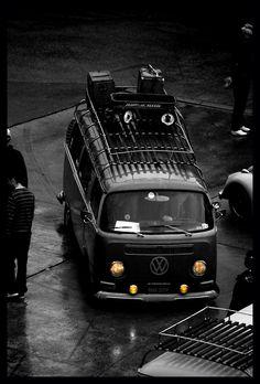 VW Bus, Resto-Cal Look, Classic Radio Flyer Wagon on Roof Rack