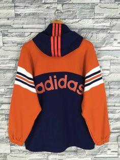 ADIDAS Half Zipper Hoodie Sweatshirt Large Vintage Adidas Trefoil Run Dmc Spell Out Hip Hop Multicolor Pullover Sweater Jacket Size L Hoodie Sweatshirts, Pullover Sweaters, Hip Hop, Adidas Outfit, Daily Fashion, Women's Fashion, Vintage Adidas, Light Jacket, Vintage Jacket