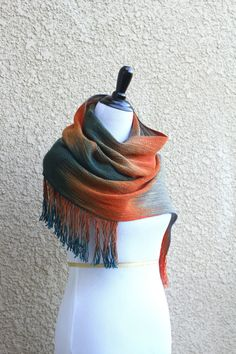 Hand woven long scarf, #pashmina with gradually changing colors from teal to orange and gray.  Amazing color shades and color variety. Unfortunately, I can't show it perfect... #kgthreads #rusteam