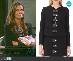 Hope's black jacket with leather tabs on Days of our Lives.  Outfit Details: https://wornontv.net/55152/ #DaysofourLives