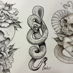neo traditional snake tattoo - Google Search