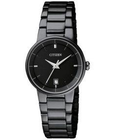 Citizen Women's Quartz Black Ion-Plated Stainless Steel Bracelet Watch 27mm EU6017-54E - Black
