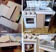Cardboard Kitchen - DIY play kitchen.  I really made this :) I didn't use any measurements, as you can observe, I'm more impatient then perfectionist but I think it works just fine.