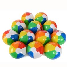 Amazon.com: 12 pc Inflatable 12 inch Rainbow Beach Ball Pool Toys: Toys & Games