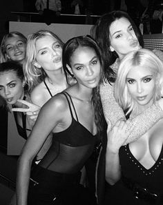 Turns out Kim Kardashian has insecurities like the rest of us! The reality TV star posed for a snap with half-sister Kendall Jenner and a host of her supermodel pals on Tuesday, March 10 — and admitted she felt a little out of her depth!