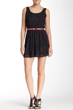 Sleeveless Polka Dots & Lace Faux Leather Belted Dress by Want & Need on @HauteLook