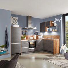 Eckküche in Grau und Wildeiche online bestellen Table, Furniture, Home Decor, Exhaust Hood, Drawers, Oak Tree, Grey, Interior Design, Home Interior Design