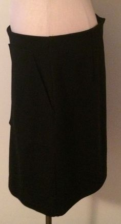 Adrienne Vittadini Womens Sz 12 Black A-Line Skirt front pleat with pockets #AdrienneVittadini #ALine