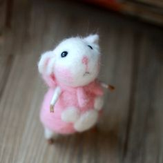 Needle Felted Felting Animals Cute Pink Dress Mouse
