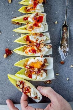 Or Diane's spreadable blue cheese, pine nuts appetizers cream cheese Smokey Almond Cream Cheese Endive Bites Endive Appetizers, Finger Food Appetizers, Healthy Appetizers, Appetisers, Appetizers For Party, Finger Foods, Appetizer Recipes, Smoked Salmon Appetizer, Canapes Recipes