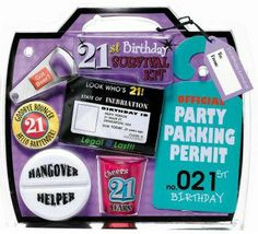 perfect for your 21st birthday party gag gift!  21st birthday survival kit #21st #birthday