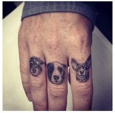 Tiny Dog Tattoos On Fingers