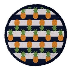 Round Towel Co. Nautical Pineapple Towel (€54) ❤ liked on Polyvore featuring home, bed & bath, bath, beach towels, blue, circle, circular, round, blue beach towel and nautical beach towels