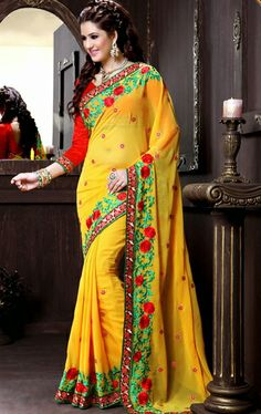 Picture of Stunning Yellow Designer Party Wear Saree Online