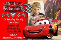 Personalised Cars Movie McQueen Lightning Birthday Invitations Personalized Invitations, Digital Invitations, Birthday Invitations, Invites, Lightning Cars, Lightning Mcqueen, Cars Cartoon Disney, Party Themes For Boys, My Daughter Birthday