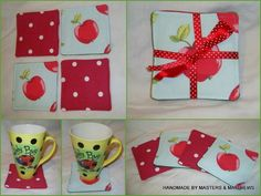 Coaster set - Apple / Red - The Supermums Craft Fair