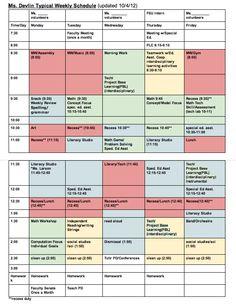 Daily Schedule   Ms. Clicks 3rd Grade Class   My future : teacher ...