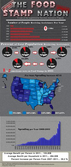Food Stamp Nation  2011 was a record  breaking year for the Supplemental Nutrition Assistance Program (Food Stamps) . This graphic highlights the sharp increases in spen