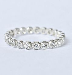 Diamond   Eternity Stacking Ring Recycled by JLaurynDesign on Etsy