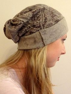 Hand made beanie slouch hat made from recycled Cashmere sweaters!