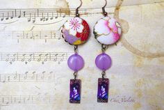 Purple Geisha earrings Japan style fabric jewelry by chezviolette