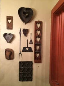 My collection of old hearts in my kitchen.