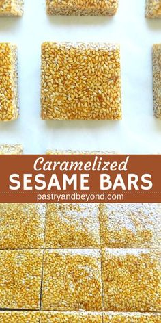 Caramelized Sesame Bars-These delicious and crunchy sesame seed bars are so easy to make! You only need 2 ingredients! #sesame #seeds #bars #recipes #caramelized #sesamecandy Recipe on pastryandbeyond.com with step by step pictures.