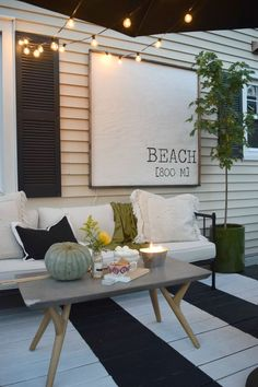 Outdoor Patio Space- Painted Stripe Deck and Maximizing Small Backyard Deck #falldecor