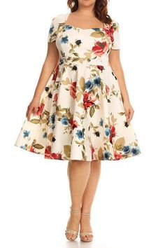 Plus Size Fashion - Plus Size Floral Printed Fit And Flare Dress (plus size) #plussizedresses